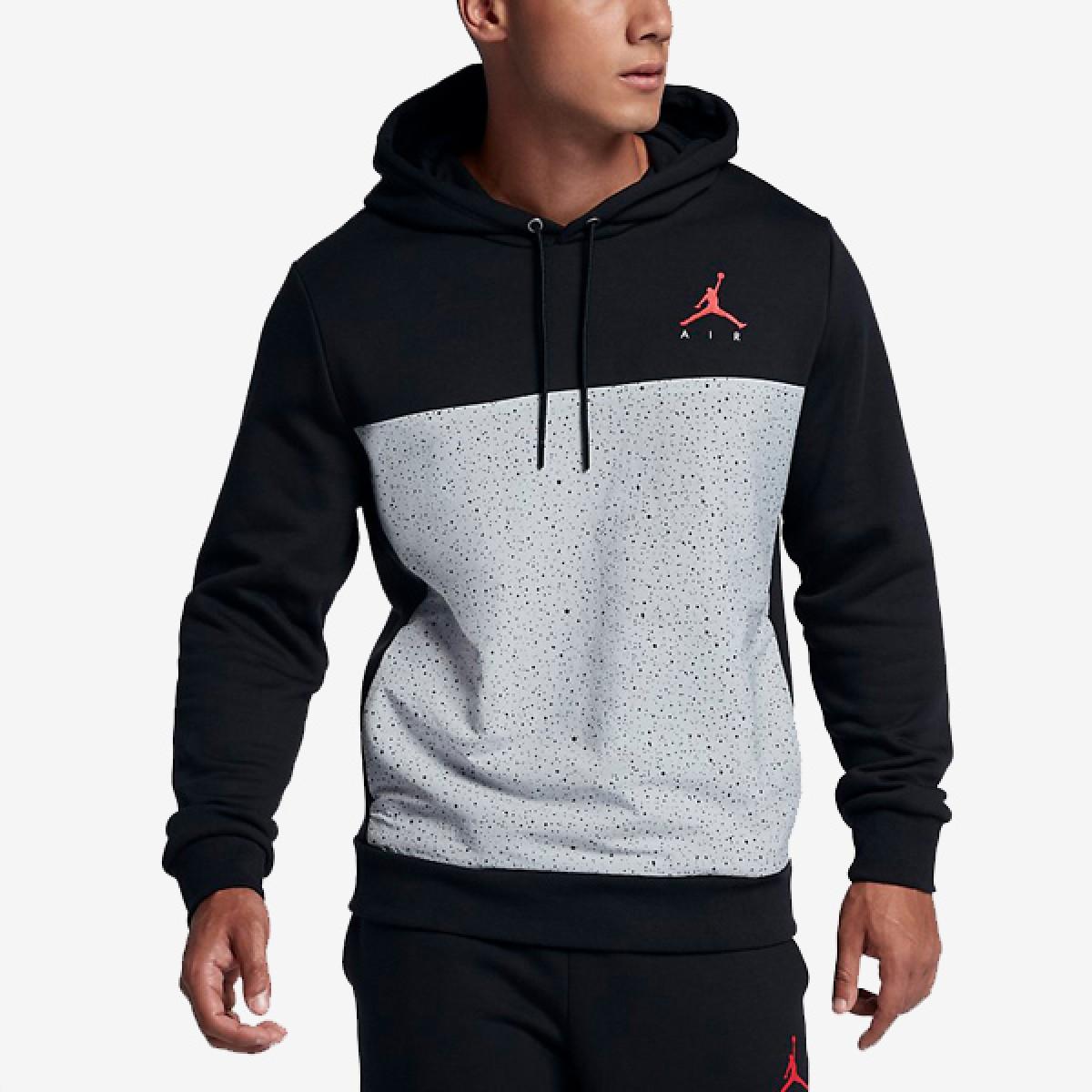 Jordan Flight Fleece Cement Pullover Hoodie 'Black'
