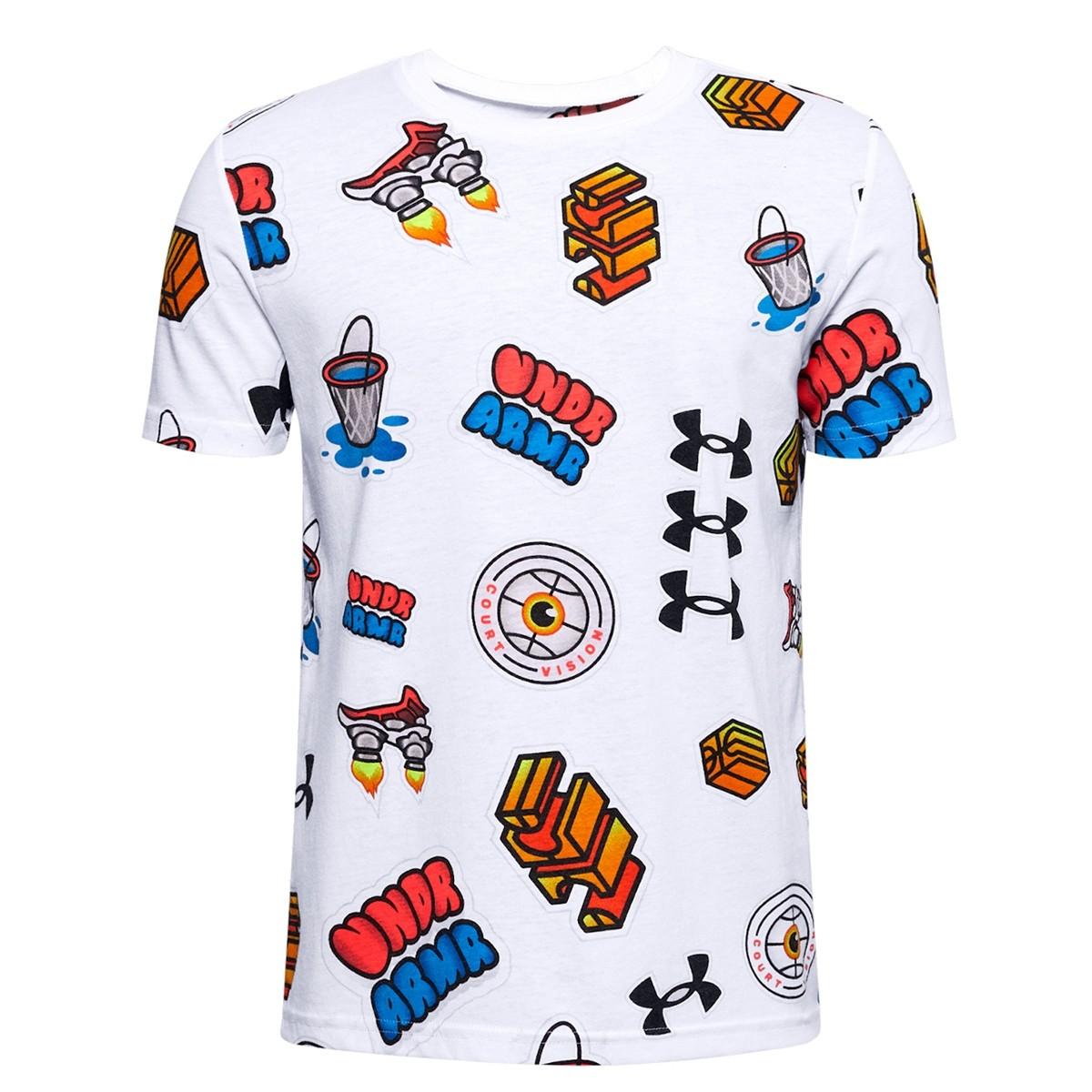 Camiseta UA Hoops Sticker Jr Tee 'White'