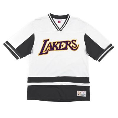 Camiseta Mitchell & Ness Final Seconds V-Neck 'Lakers'-VNECAJ19019-LALBKWH