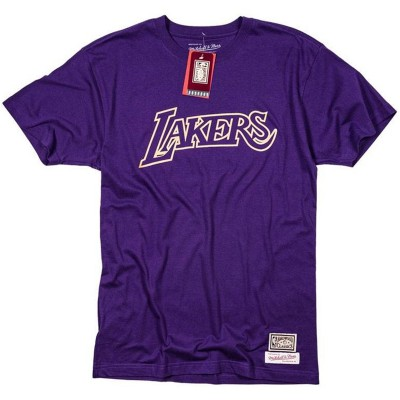 Camiseta Mitchell & Ness Gold Logo 'Los Angeles Lakers'-BMTRBW19104-LAL