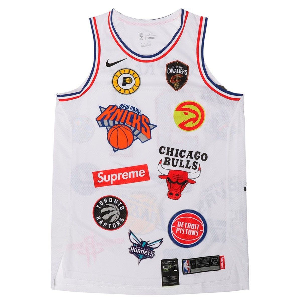 detailed look 53b10 16ea6 Supreme X Nike NBA Teams Authentic Jersey 'White'